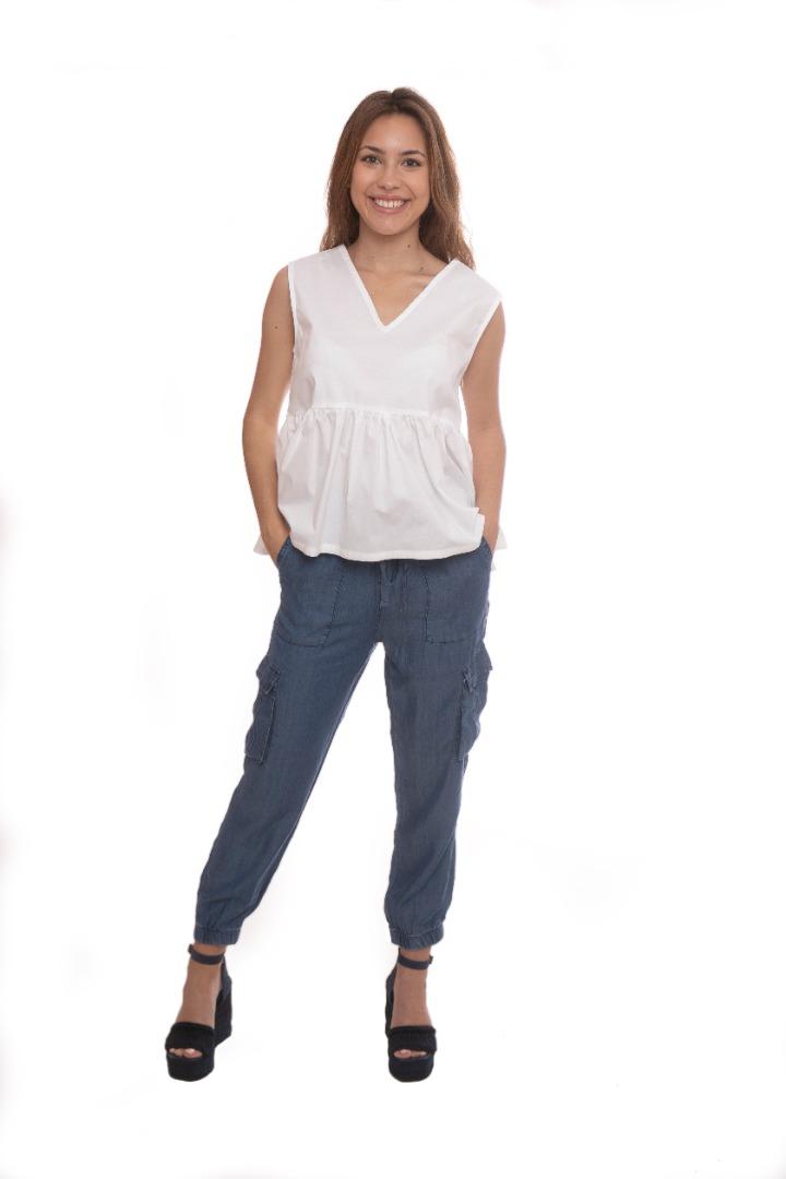 Pantalón azul tencel