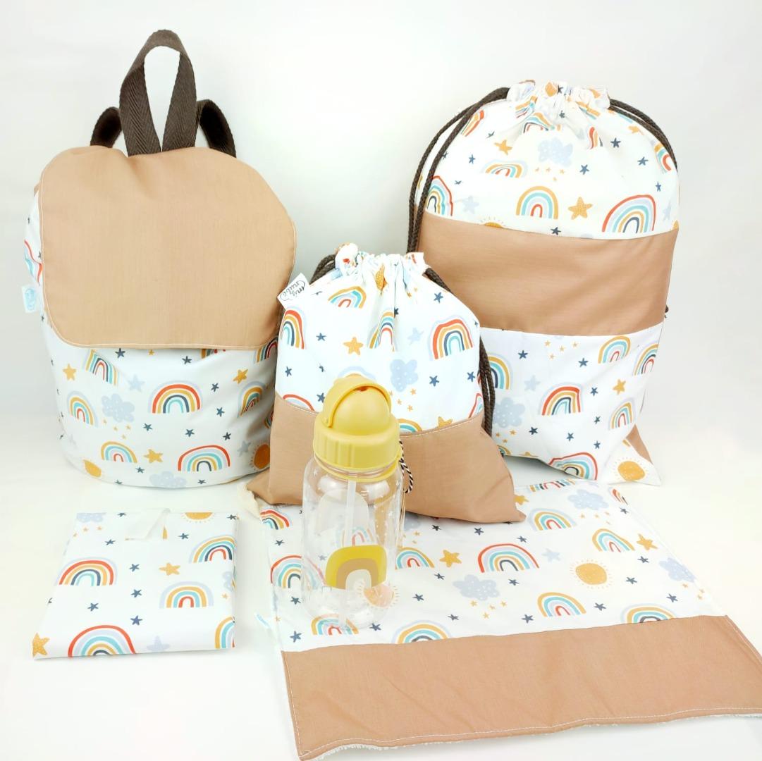 Conjunto de mochilas y accesorios para niños para el cole, con arcoiris