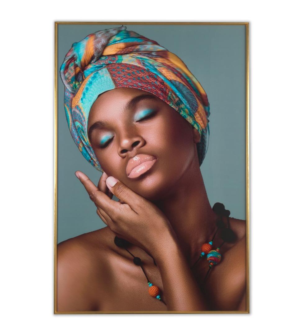 Cuadro de Cristal con ilustración de mujer africana con turbante
