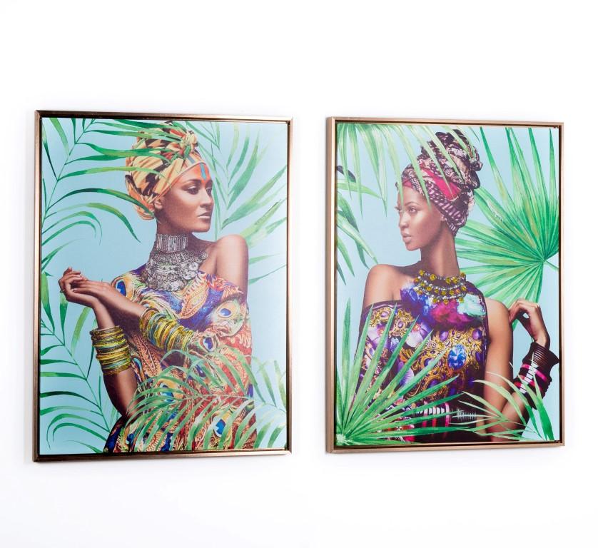 Pack de dos cuadros con marcos con ilustraciones de mujeres africanas con turbante