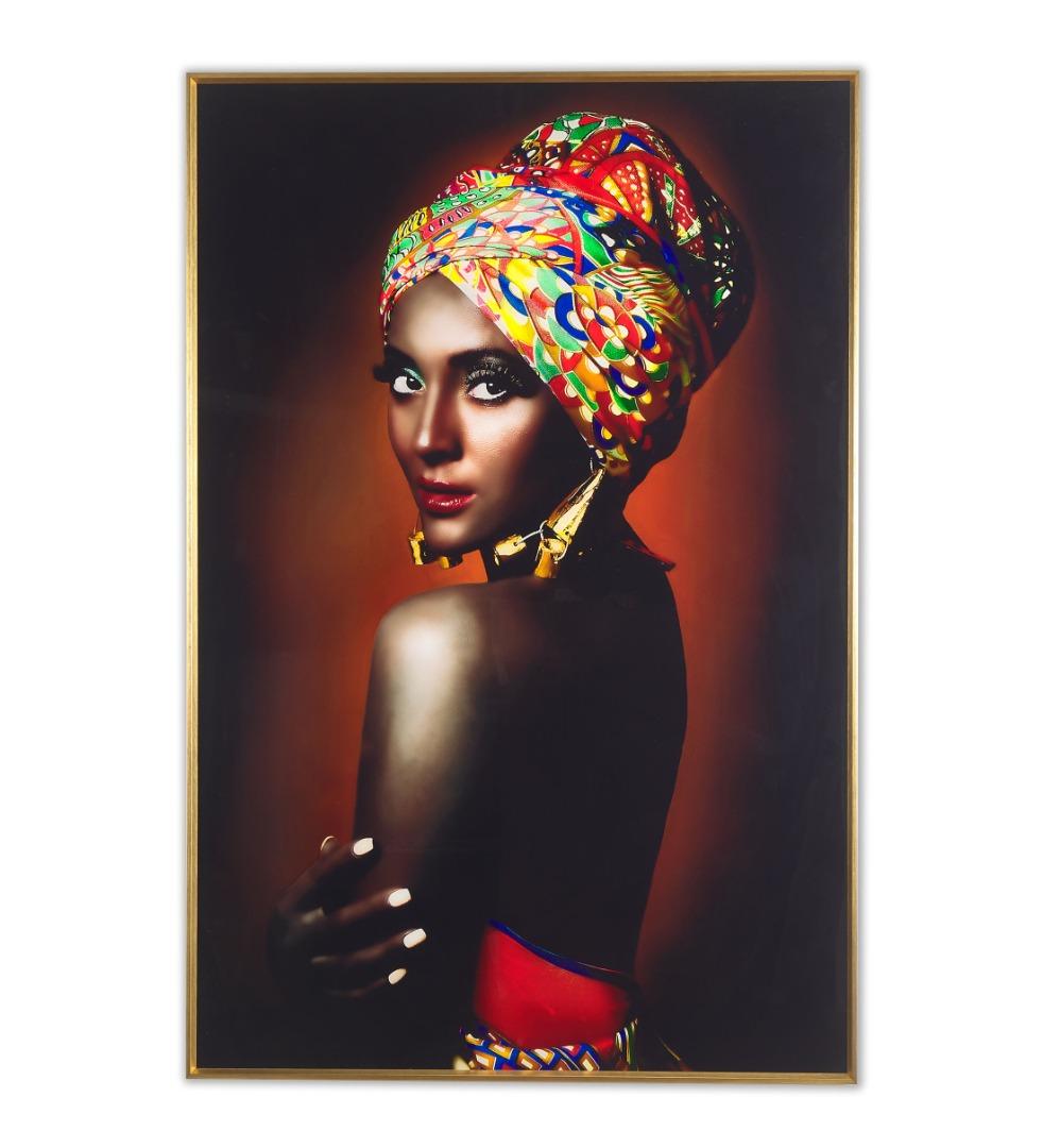 Quadre de Cristall Dona africana. Vermells