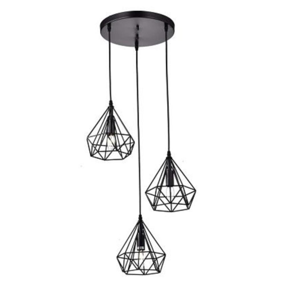 Lámpara colgante con 3 puntos de luz de metal negro