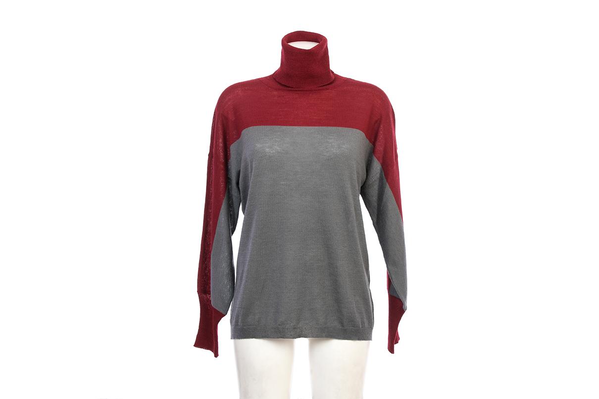 Jersey de cuello alto granate y gris