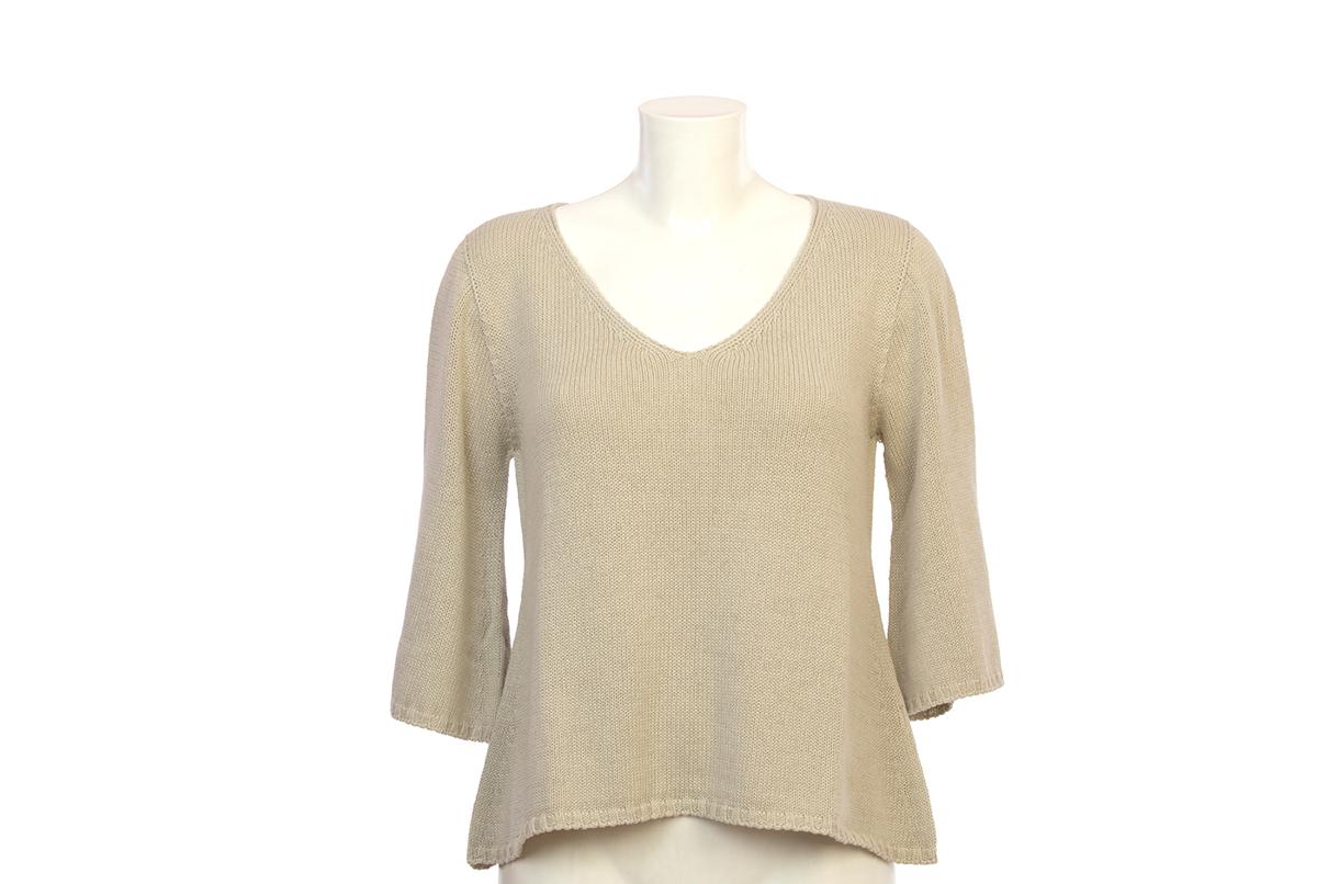 Jersey de algodón con mangas francesas de color piedra