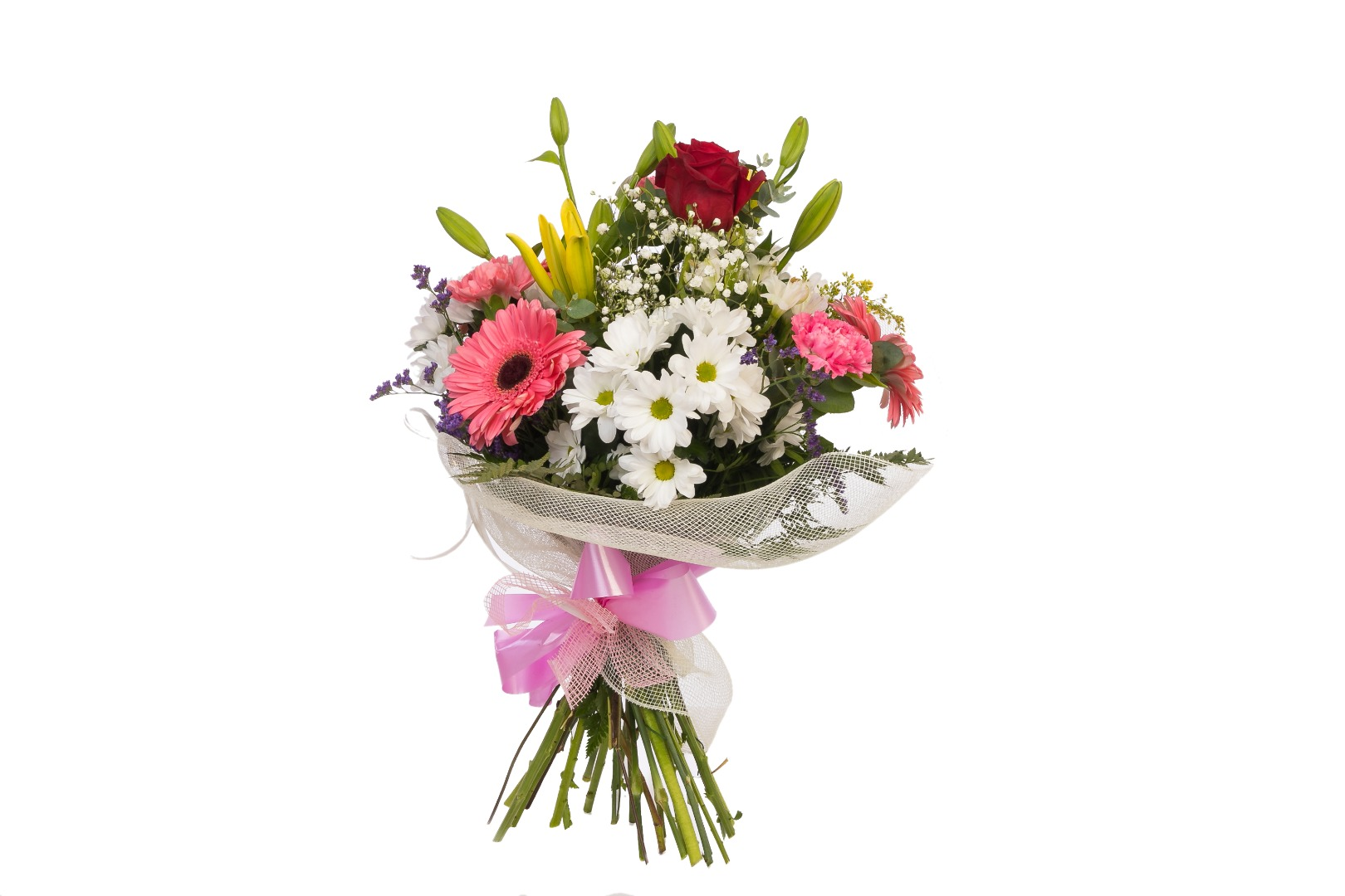 Ramo flores variadas rosas margaritas