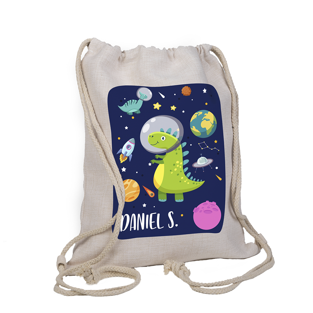 Mochila saco de lino personalizada con dibujo de dinosaurio