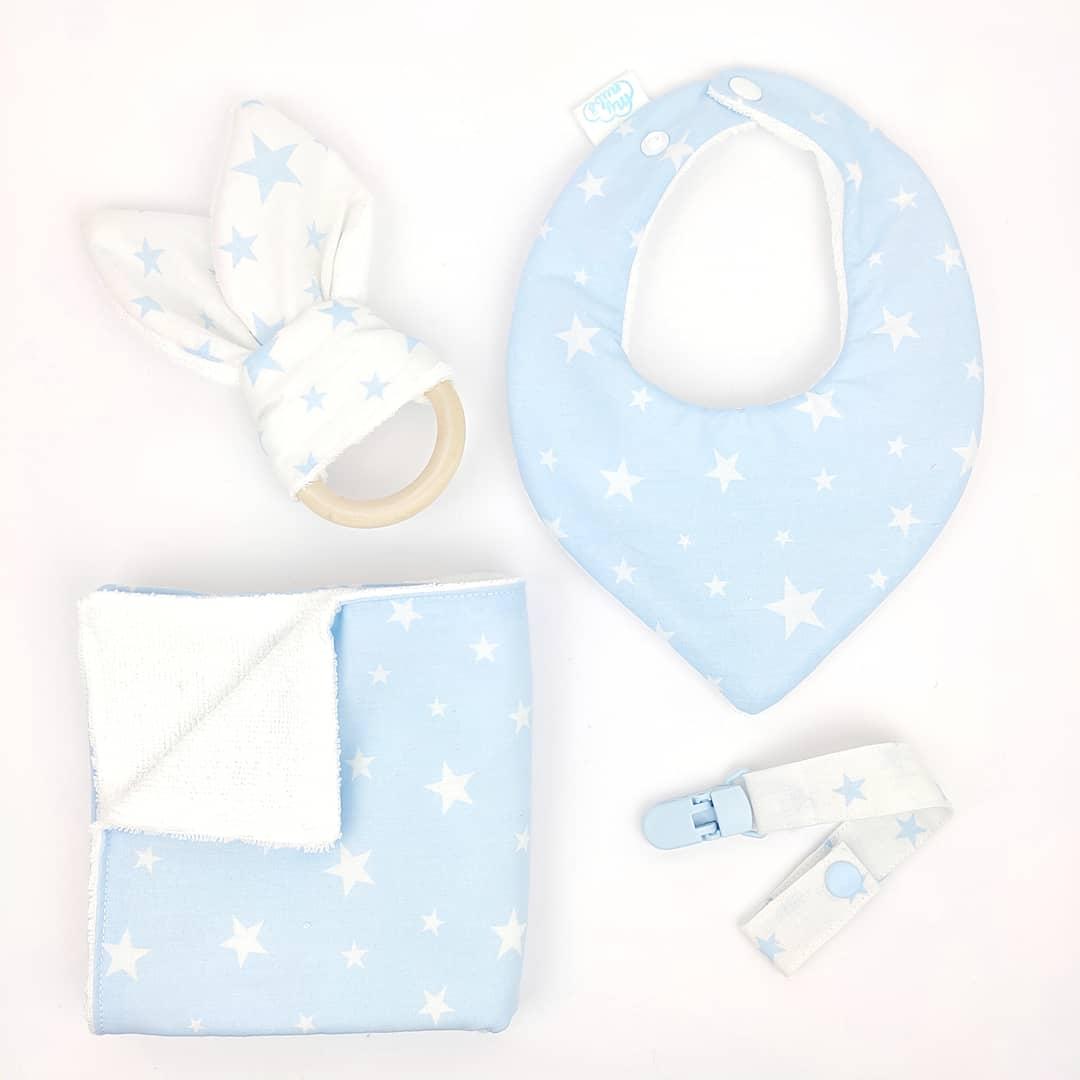 Canastilla azul y blanco con estrellas