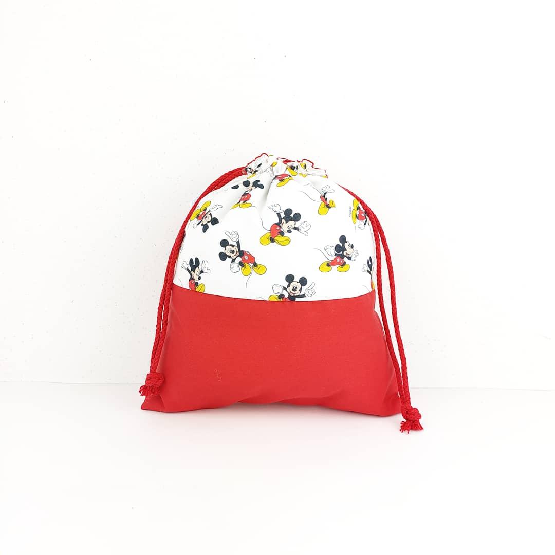 Bolsa para el desayuno de los niños, en color blanco y rojo y con la minie mouse