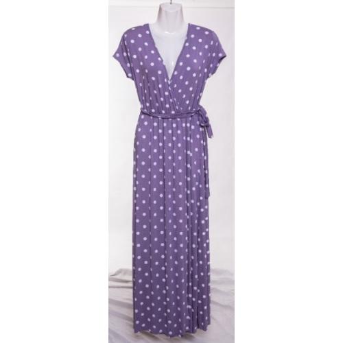 Vestido de mujer largo con lunares color lila