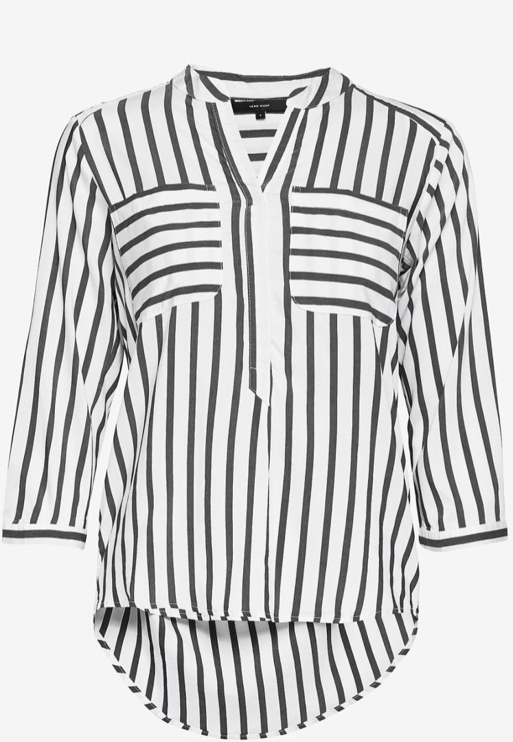 Camisa de mujer blanca con rallas grises