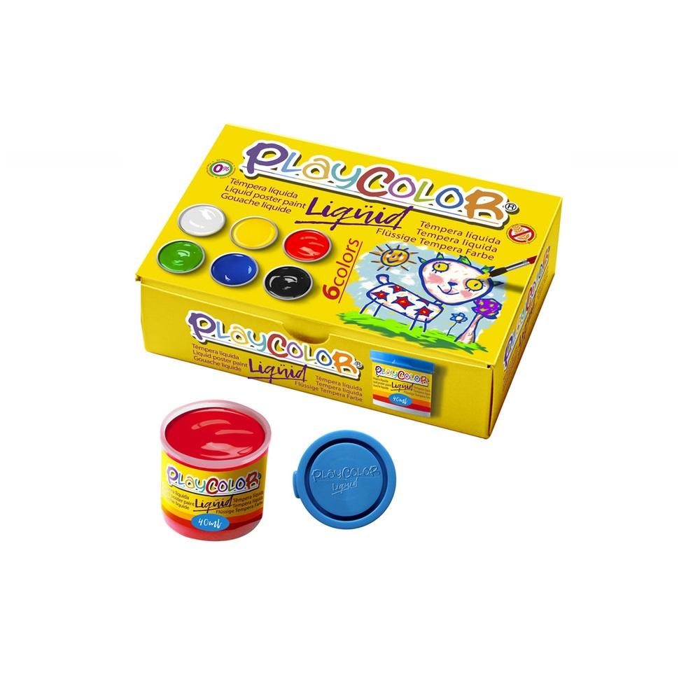 PLAYCOLOR LIQÜID 40ml. COLORS ASSORTITS (6) amb pincell - blanc, groc, vermell, verd, blau i negre.