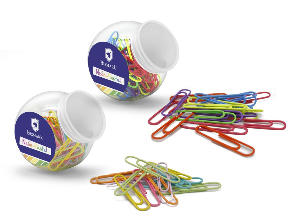 Caixeta 100 clips metàl.lics plastificats 33mm Milan