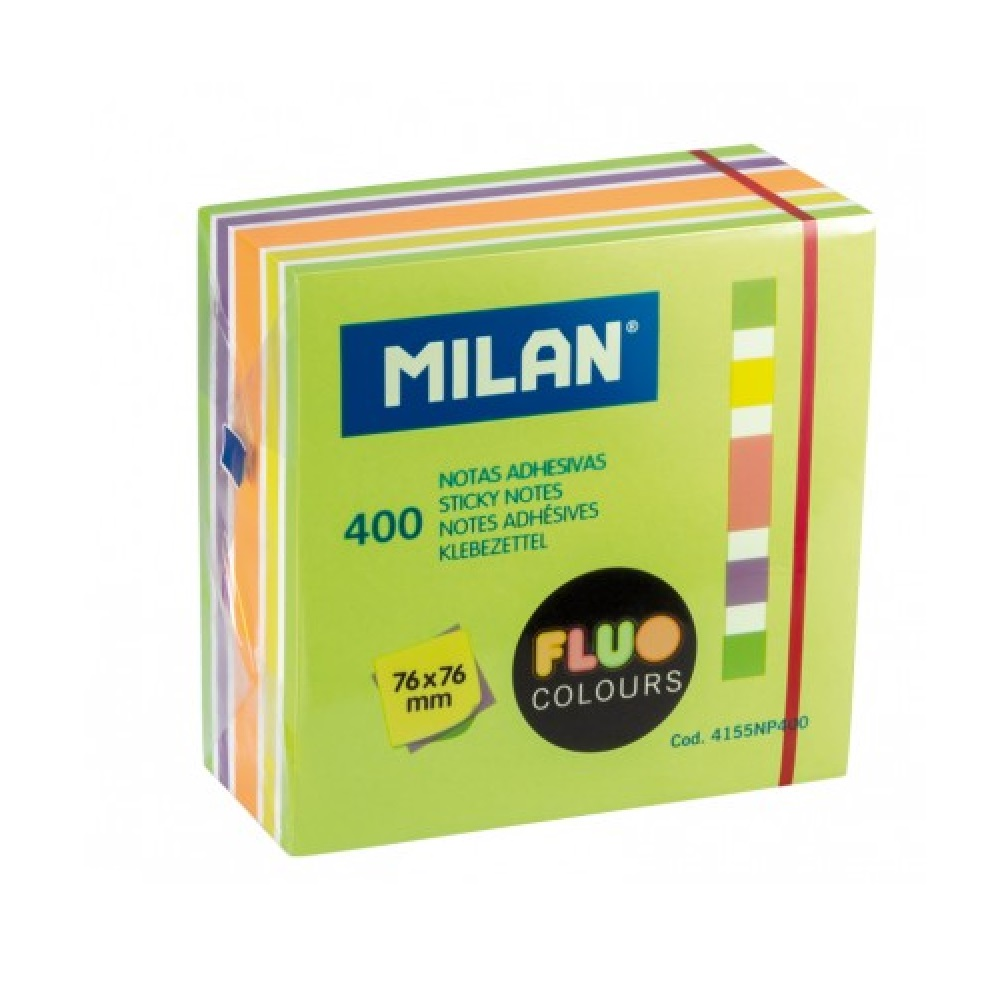 Bloc 400 notes adhesives colors Fluo 76 x 76 mm