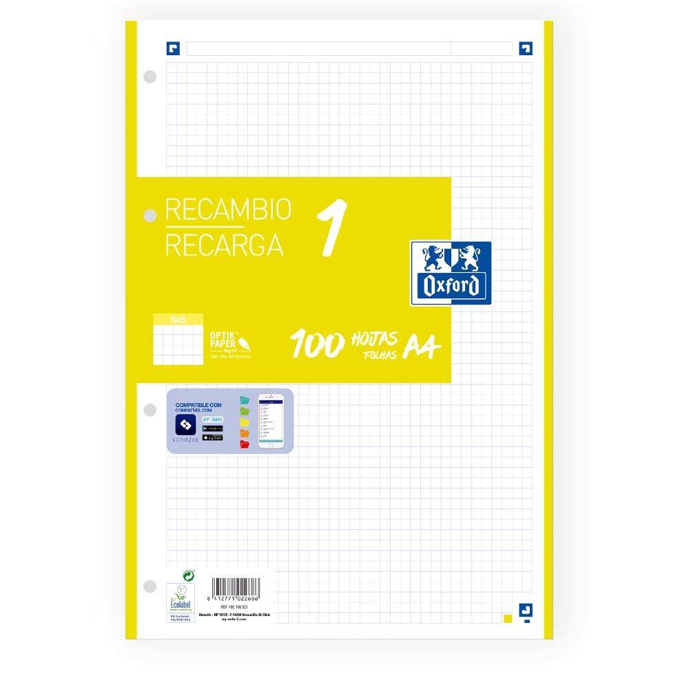 OXFORD Paper A4 4 forats 100 fulles 90gr. quadrícula 5x5  lima Oxford