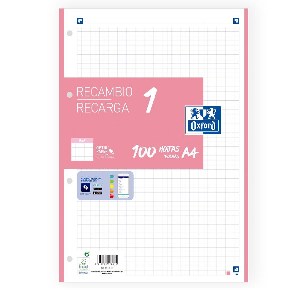 OXFORD Paper A4 4 forats 100 fulles 90gr. quadrícula 5x5  rosa chicle Oxford