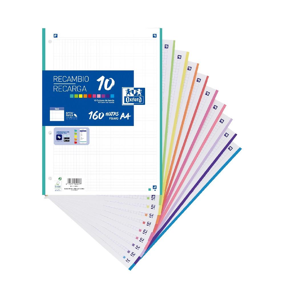 OXFORD Paper A4 4 forats 160 fulles 90gr. quadrícula 5x5 10 colors de banda Oxford